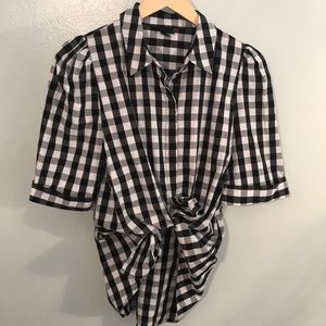 Who What Where Checkered Blouse Sz.M
